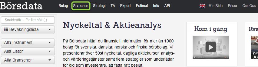 Screener Börsdata